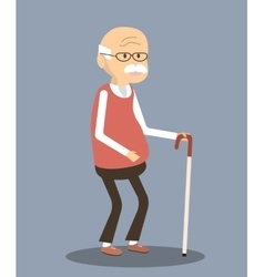 Old Man with Cane vector