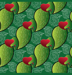 paisleys seamless pattern green repeating floral vector image