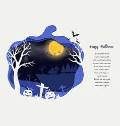 paper art halloween with scary pumpkins vector image