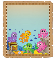 Parchment with underwater theme 5 vector