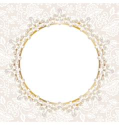 pearl frame on white lace background vector image