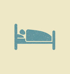 person in bed hotel flat icon in grunge style vector image