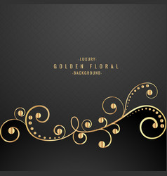 Premium golden floral on black background vector