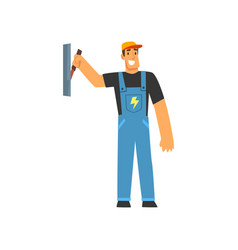 Professional electrician with power switch vector