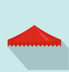 Red flag tent icon flat style vector
