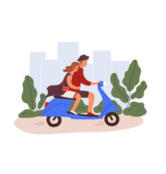 Romantic couple riding a scooter young man and vector