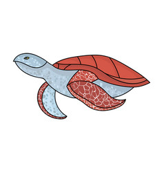 sea turtle icon in cartoon style isolated on white vector image