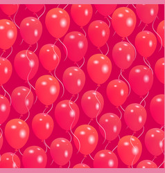 seamless pattern with red helium balloons vector image