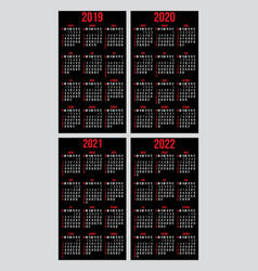 set of calendar grid templates for business vector image