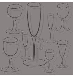 set of glasses of different sizes vector image