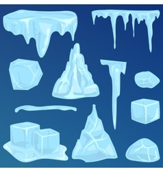 Set of ice caps snowdrifts and icicles elements vector