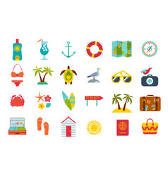 set of summer icons vector image