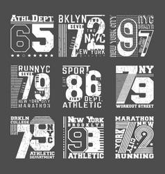 set t shirt print stamp design vector image