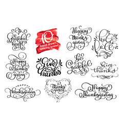 Set thanksgiving lettering for invitations vector