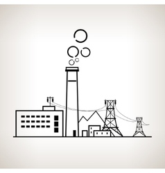 Silhouette coal power station vector