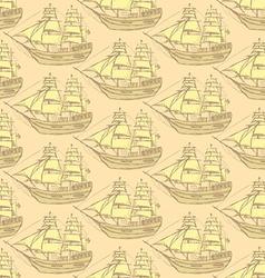 Sketch sea ship in vintage style vector image