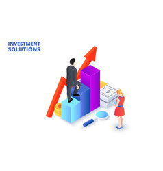 solutions for investments analysis concept and vector image