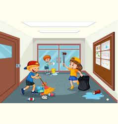 Student cleaning school hallway vector