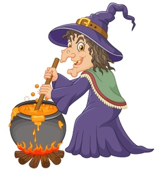 The ugly witch is stirring the potion vector