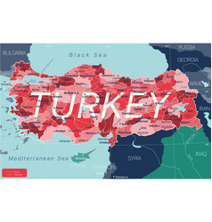 Turkey country detailed editable map vector