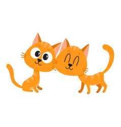 two cute and funny curious cuddling red cat vector image