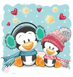 Two cute penguins vector