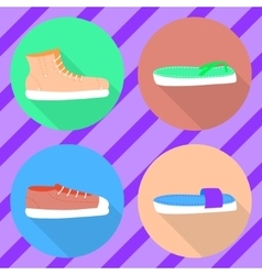 Various types of summer shoes Flat2 vector