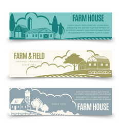 Vintage farm houses and organic products vector