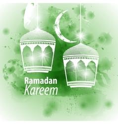 Watercolor green blob ramadan kareem vector
