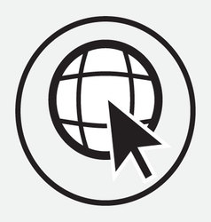 Web globe with arrow cursor monochrome vector image