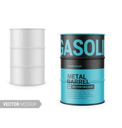 White matte metal barrel mockup template vector