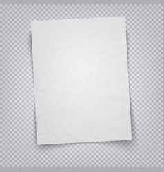 white sheet paper on a transparent background vector image