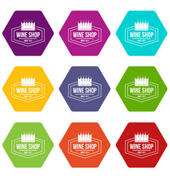 wine shop icons set 9 vector image