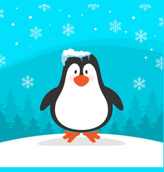 Winter penguin with blue background image vector