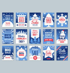 winter promo cards season offers advertising vector image