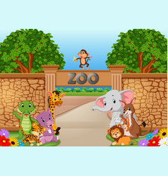 Zoo and animals in a beautiful nature vector