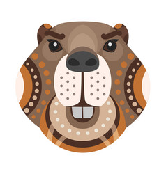 beaver head logo decorative emblem vector image vector image