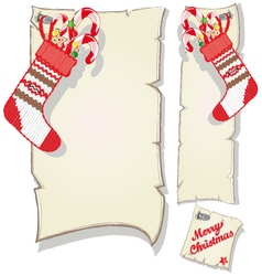 Christmas set empty frame and socks with candy vector image vector image