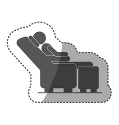 sticker black silhouette pictogram male sitting in vector image