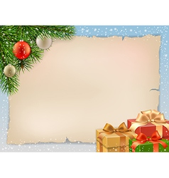 Christmas card with fir branch vector image