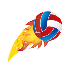 colorful olympic flame with volleyball ball vector image vector image