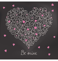 Greeting card with floral heart shape be mine vector