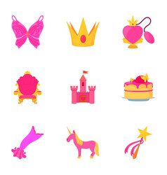 little princess equipment icons set cartoon style vector image vector image