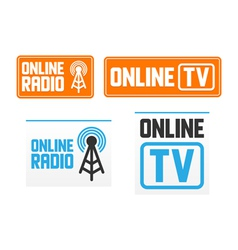 Online radio and tv signs vector image vector image