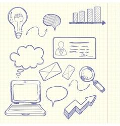 Set of doodle business management vector image vector image