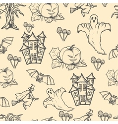 Hand drawn doodle Halloween seamless pattern vector image