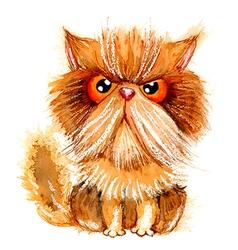 Hand drawn watercolor grumpy persian cat vector image vector image