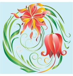 tulips in a circle vector image vector image