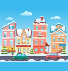Winter cartoon city landscape christmas vector