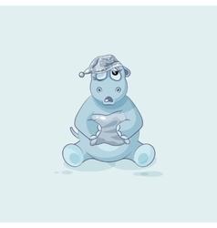 Emoji character cartoon sleepy Hippopotamus in vector image